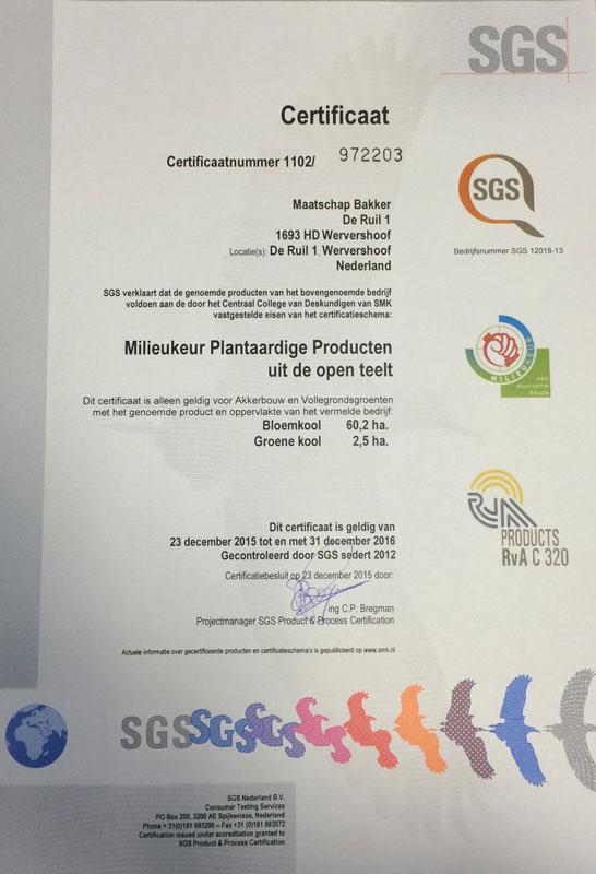 milieukeur plantaardig certificaat